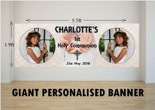 Personalised GIANT Large Girls Boys Holy Communion Poster Banner N25